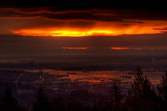 Fires of Mount Doom! (TylerIngram) Tags: sky water vancouver sunrise dawn inlet hdr mountbaker mtbaker tankers metrovancouver 3xp cypresslookout 3exp