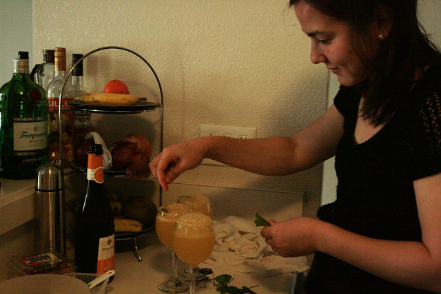 anna working on the mimosas