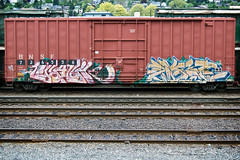 (everkamp) Tags: seattle railroad graffiti washington trains va freight bnsf boxcars mfk rollingstock railart wase benching erabik