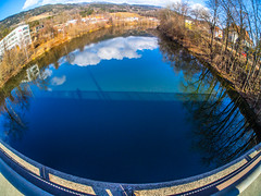 50- February 19  2017 - shadow bridge selfie (Kristoffersonschach) Tags: leoben austria styria steiermark samyang fisheye blue mur river shadow 365the2017edition 3652017 day50365 19feb17