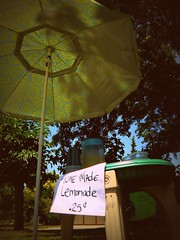 Home Made Lemonade (KFrench Photography) Tags: trees summer umbrella children table lemonade 50views picnik 25cents onmystreet inmyneighborhood sanjoseca lemonadestand summersday explored itshotoutside homemadelemonade june2009 summer2009 kidslemonadestand