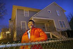 proud new homeowner in the Dudley neighborhood (photo by Evan Richman)