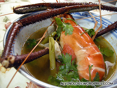 Giant prawn in Tom Yum soup