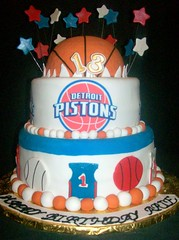 Detroit Pistons cake (Enchanted Cakes of Brevard) Tags: blue red white basketball cake stars detroit pistons