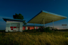Gas & Grease (Noel Kerns) Tags: abandoned oklahoma station night cafe gas