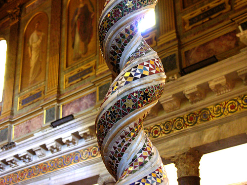 Cosmati pillar in Santa Maria in Trastevere, marking the site of the miraculous spring of oil