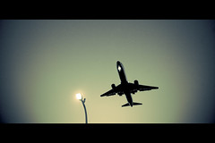 Constant Elevation (13thWitness) Tags: silhouette night airplane lights airport aircraft jet landing explore airline boeing framing frontpage runway 747