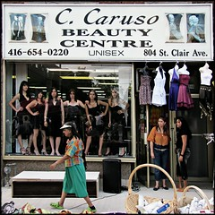 Beauty Centre (just relax, no pressure, be yourself...) (Now and Here) Tags: street toronto ontario canada window beauty sign shop canon reflections square store women highheels image display fb stclair walk candid models powershot sidewalk baskets speaker littleitaly avenue stroll unisex selfimage 1x1 crocs selfconscious salsaonstclair blackdresses livemannequins fave10 socialpressure beautycentre sx110is fave25 nowandhere ccarusobeautycentre 804stclairavew oddoreerie