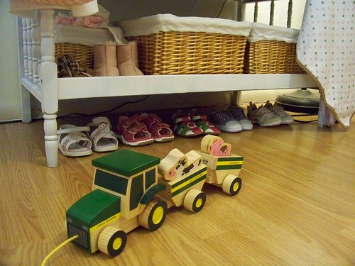 Little shoes -- and a John Deere tractor