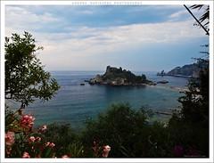 A postcard from Taormina (Andrea Rapisarda) Tags: sea italy clouds geotagged italia nuvole mare postcard olympus isolabella taormina si
