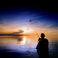 Casting into the Blue (Insight Imaging: John A Ryan Photography) Tags: sunset toronto ontario silhouette fishing north nipissing baylake nikond300 wwwinsightimagingca johnaryanphotography