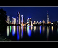 Gold Coast By Night (whoops vision) Tags: water night buildings reflections river lights colours goldcoast colouredlights nerangriver goldcoastbynight