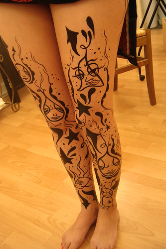 "painted legs for ""battle of the salons"""