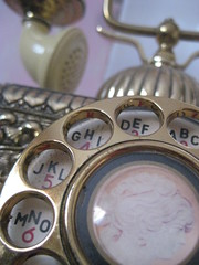 call me (pearlsandribbons) Tags: 2 6 3 face metal gold phone 5 4 ivory numbers cameo rotary