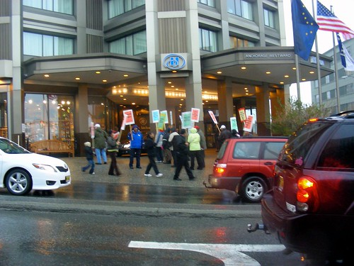 Members of United HERE Local 878 spent a good part of the day on September 25 in the rain outside the Anchorage Hilton picketing for a fair contract.