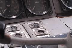 """Driver's Desk of British Rail """"Western"""" (Class 52), West Somerset Railway (Kirsa Fleishhacker) Tags: train diesel desk cab engine loco somerset cc western locomotive britishrail maybach westsomerset westsomersetrailway williton dieselhydraulic class52 westernregion westerncampaigner d1010 driversdesk"""
