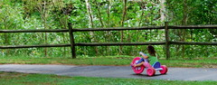 Little girl rocking the big wheel at the park in Valle Crucis, NC