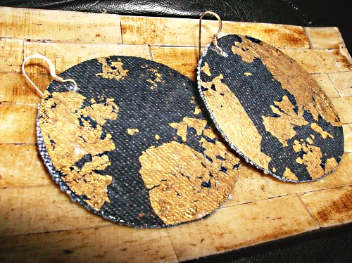 Denim Gold Leaf Earrings