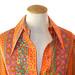 Funky vintage 1970s orange floral Anne Klien blouse