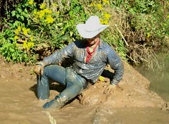 50 WS Relaxing pleasures in warm sun & mud soaked (wranglerswimmer) Tags: wet cowboy wranglers swimmingfullyclothed guysinwetjeans wetcowboy wetwranglerjeans