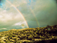 (chucknastyyy) Tags: trees arizona rain weather rainbow az roadtrip hills rainbows doublerainbow prescott
