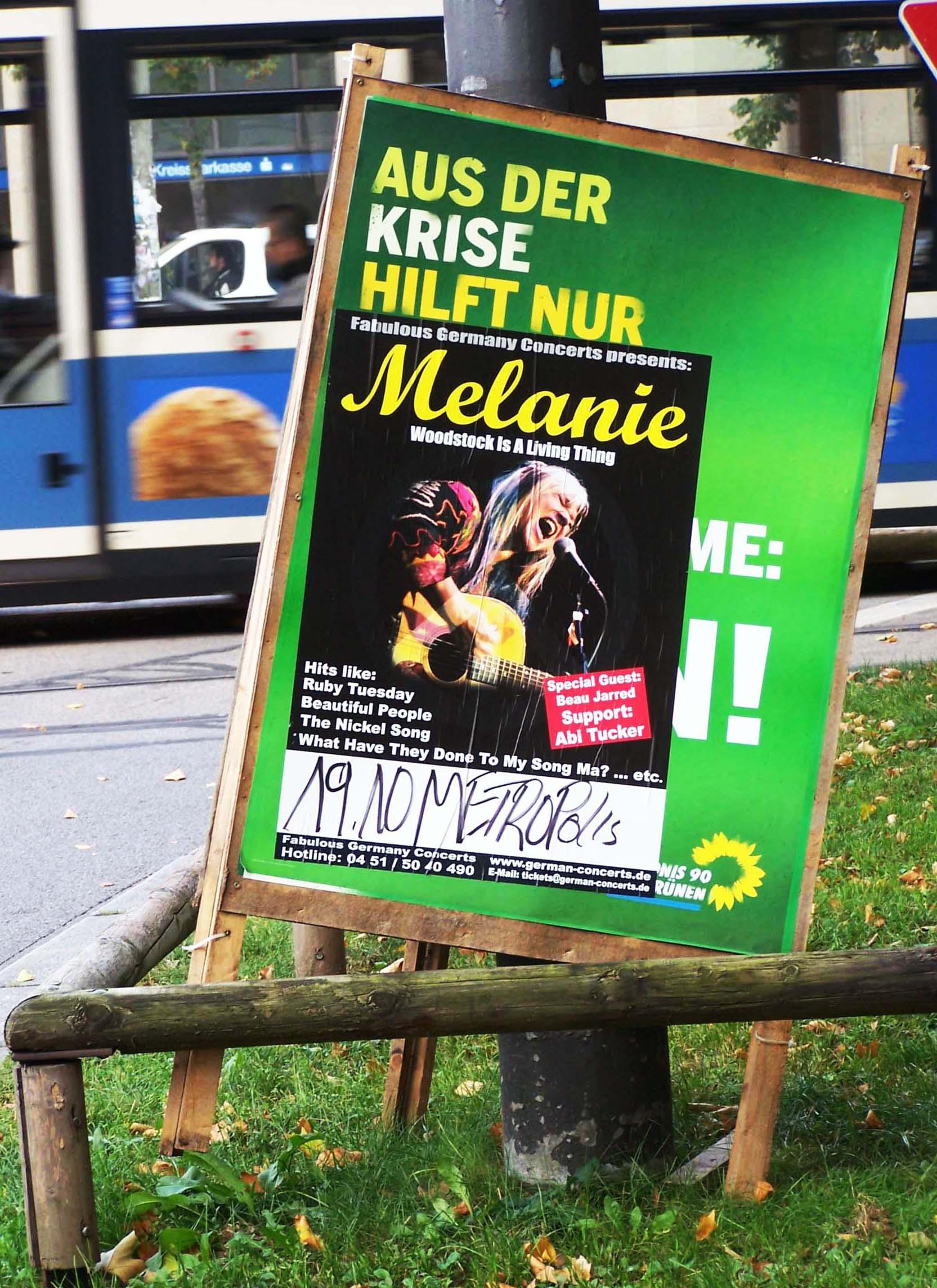 Grüne-Plakat, Aus der Krise hilft nur Melanie
