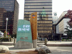 Vancouver 2010 Olympic countdown clock, British Columbia, Canada. (vridetv) Tags: travel winter canada clock tourism vancouver whistler hotel media tour symbol omega sightseeing games columbia riding virtual motorcycle british olympic olympics countdown fairmont 2010 2010olympics vancouver2010 paralympic vridetv