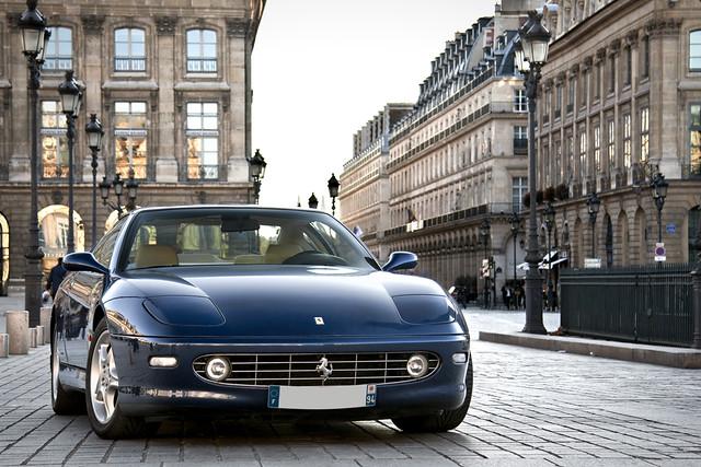 street blue paris france car leather place cream ferrari m gt tourdefrance supercar 456 vendôme
