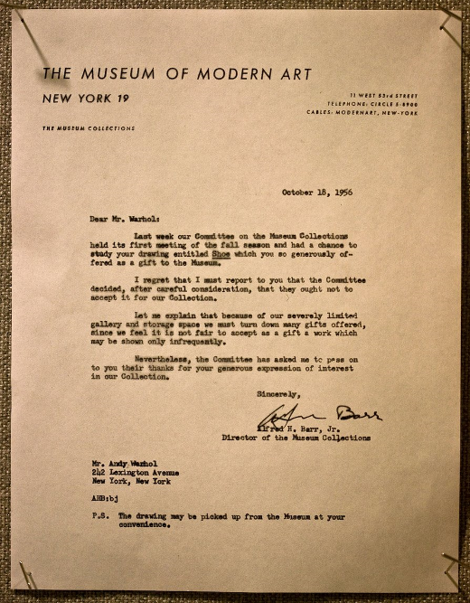 Letters of Note: It's with regret, Mr. Warhol...