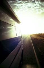 waiting the sunset (Davide Rusconi) Tags: road park blue sunset red sky colors yellow rock lomo lca lomography bush tramonto cross desert nation ct australia x iso saturation queensland 100 uluru kata tjuta van process lc agfa ayers camper northen territory precisa