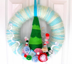 Whoville Yarn Wreath (KnockKnocking) Tags: christmas holiday silly tree cute rose fun assemblage felt yarn grinch wreath present drsuess pompom whoville knockknocking