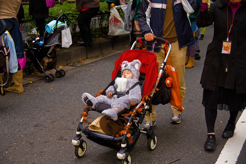 Sleeping koala bear, Halloween parade, by Buz Carter.