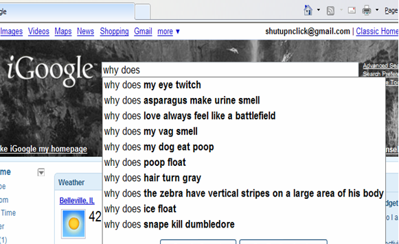 google suggestions funny. questions into Google to