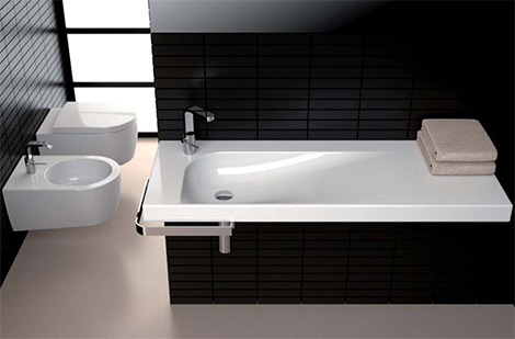 Italian Black and White Washbasin by Nilo Gioacchini