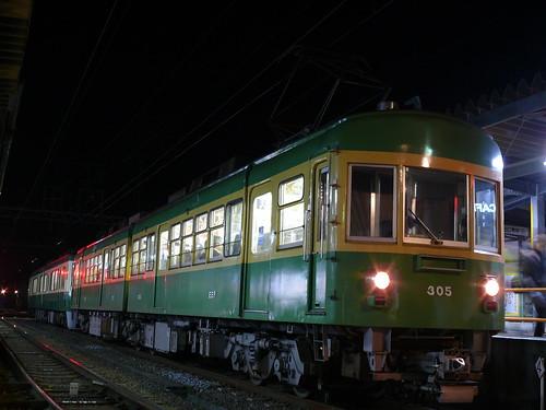 江ノ電305F+502F稲村ヶ崎行き最終電車@長谷