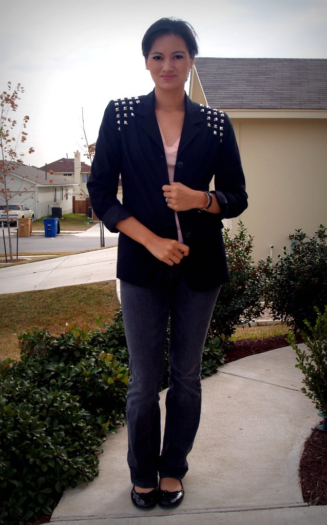 DIY studded blazer (front)