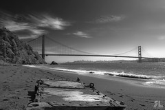 Kirby Cove/Golden Gate Bridge (xray95) Tags: ocean sanfrancisco california bridge sea sky bw beach water clouds bay iso200 blackwhite sand nikon waves pac