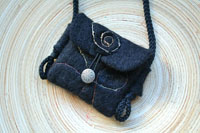 "black felt amulet pouch...""treasure""...spiral symbol of renewal"