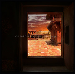 One's Own Deeds (designldg) Tags: travel sunset sky building heritage window mystery architecture square evening colours view dream royal atmosphere fatehpursikri palace soul akbar mughal uttarpradesh  indiasong jodhaa