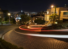 Crooked Street (Dan_Fr) Tags: sanfrancisco us usa california lombard street crooked hairpin bend light trail bay bridge coit tower city night longexposure sony a7r