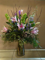 "#48ED $125 Vased arrangement of Sorbonne lilies, larkspur, liatris, Bells of Ireland and dogwood branches. • <a style=""font-size:0.8em;"" href=""http://www.flickr.com/photos/39372067@N08/3662860721/"" target=""_blank"">View on Flickr</a>"