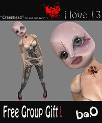 """i love 13: """"Creephead"""" (Group exclusive Gift) (i love 13) Tags: girls shadow woman cute eye broken fashion digital dark dead costume 3d clothing scary blood punk doll gloomy puppet grunge avatar ghost gothic group emo goth free creepy special spooky sl secondlife morbid nonsens dork mad rotten trashy sideshow accessory shabby freebies dollparts i313 killerdoll sculpties ilove13 ginger13kidd thepsychobillsbunker freegroupgift notpossibleinrl"""