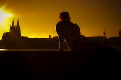 Sunset 1 (Peter Heilmann) Tags: city light sunset sky orange sun girl yellow germany deutschland gold licht women sonnenuntergang dom cologne himmel köln gelb human german stadt actress nrw rhine sonne rhein allemagne nordrheinwestfalen rheinufer kölnerdom sonnenschein schauspielerin northrhinewestfalia darstellerin theunforgettablepictures sonyalpha350 grouptripod oneofmypics meelahadams meelahadamscom serenitymoments