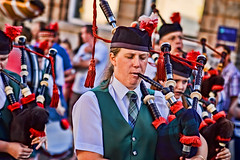 Lady Piper (Liskeard Carnival) (pete478) Tags: cornwall bagpipes pipers liskeard topazadjust
