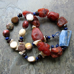 illuminated stone necklace (thebeadedlily) Tags: necklace long ooak cream jewelry asymmetrical beaded chunky beadwork warmcolors bluekyanite moukaitejasper carnelianrough redorangestone