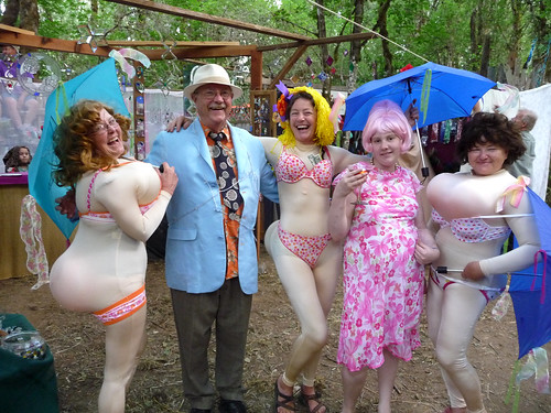 Ladies and men in funny dresses at Oregon Country Fair