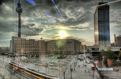Berlin Alexander Platz (Werner Kunz) Tags: city trip travel vacation sky people holiday building berlin alex architecture clouds photoshop shopping germany lens deutschland town nikon europe place urlaub brunnen tram wideangle republik german alexanderplatz fernsehturm 40 alexander spree ultrawide dri hdr tvtower hdri deutsch werner reise hochhaus parkinn galeriakaufhof skyscrapper parkhotel preussen wende kunz wiedervereinigung photomatix hotelstadtberlin bundeshauptstadt 20fav explored colorefex nikond90 topazadjust werkunz1