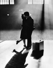 Couple kissing good bye at Michigan Central Station (mcsdetroitfriend) Tags: michigan wwii detroit goodbye 1944 corbis michigancentralstation