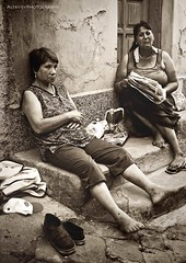 Having a break (aleksiev) Tags: street summer people lady canon bulgaria eos350d streetshot bulgarian velikoturnovo