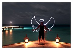 Experimental Angel (Prof EuLOGist) Tags: light angel night canon island photography wings model long exposure picnic shot halo led maldives jinan hussain yasir 500d ohalhali